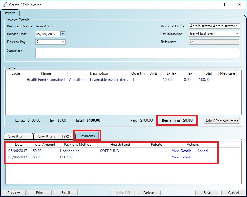 Split payments on a fully paid Healthpoint part paid invoice