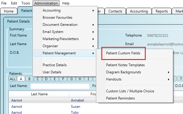 Accessing the patient custom fields screen