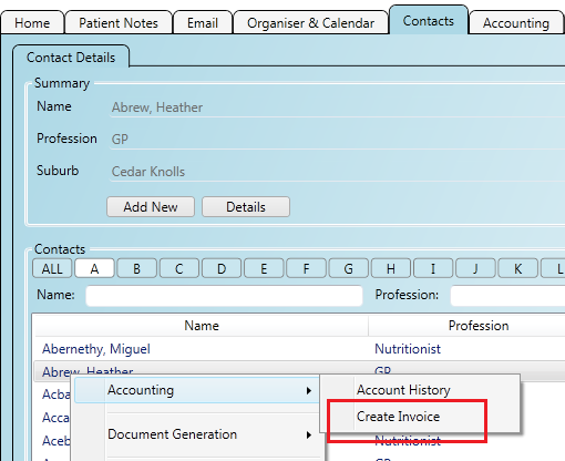 Creating a new invoice against a contact