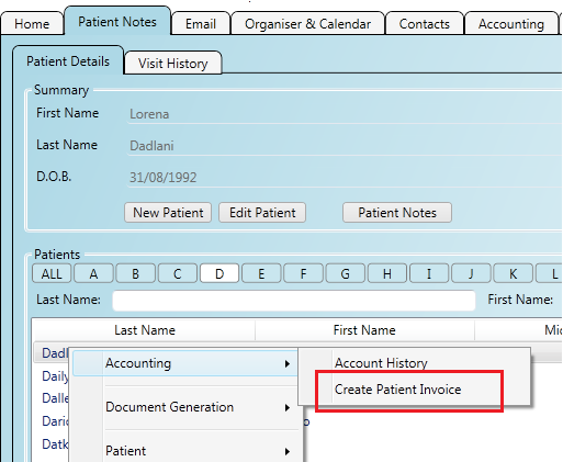 Creating a new patient invoice