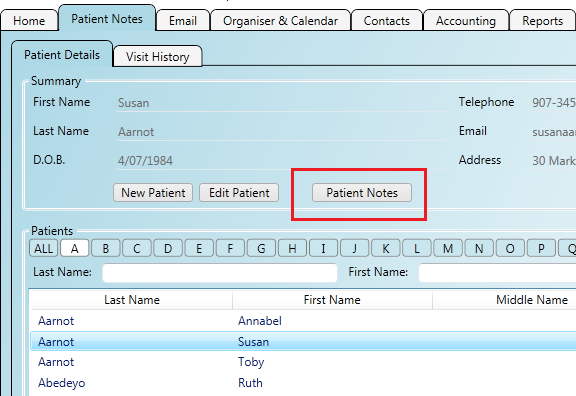 Opening the patient's notes from the patient details screen
