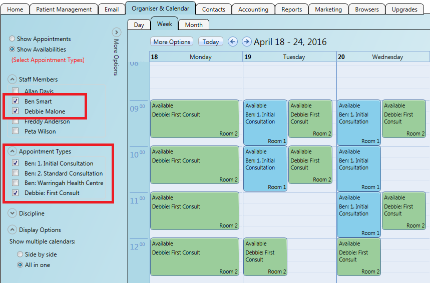 Selecting appointment types will show their availability on the calendar