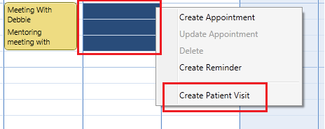 Creating a new patient visit from the main calendar