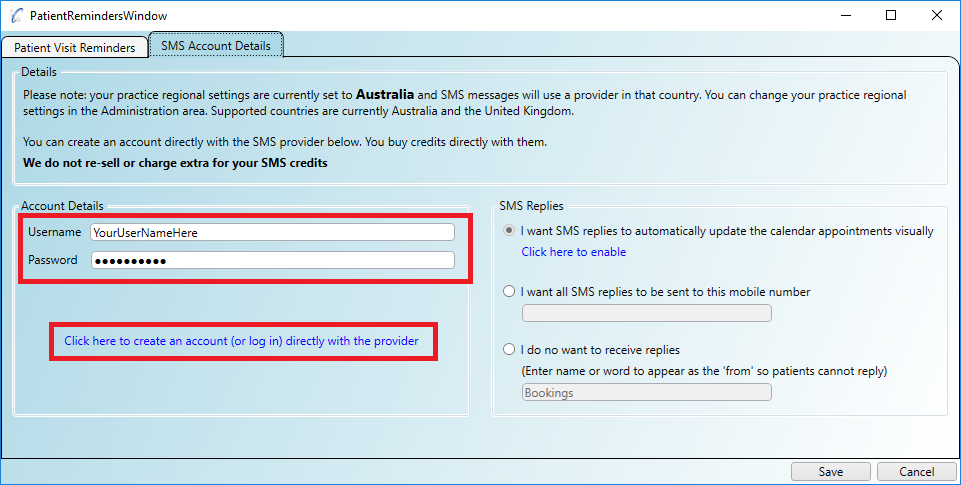 Specifying your SMS account details