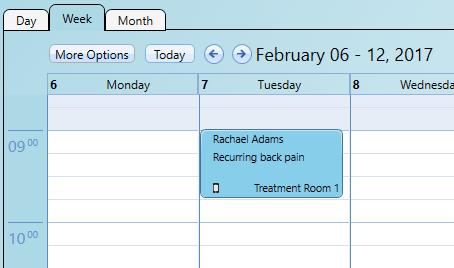 The calendar appointment has an indicator when the patient's SMS reply cannot be understood