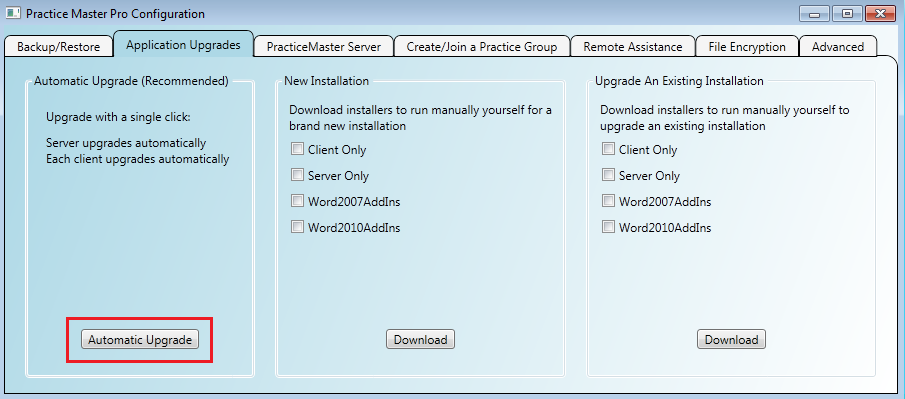 Upgrading Practice Master Pro server and all clients with a single click