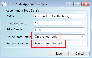 Appointment type set for Acupuncture Room 1 which has a start time setting of On The Hour