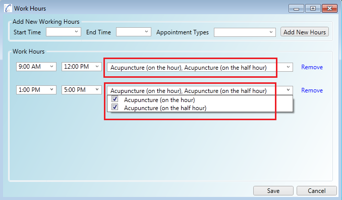 Applying multiple appointment types to your work hours