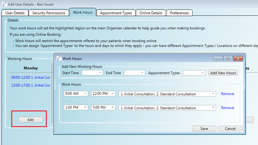 Linking appointment types to work hours