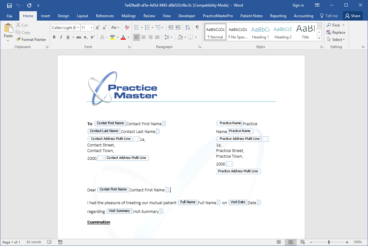 Professional nutrition documents generated by the software
