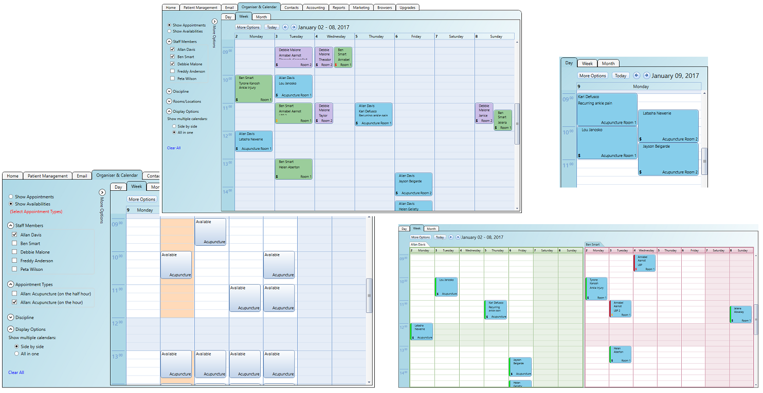 Use rooms/locations as well as practitioners on your calendars
